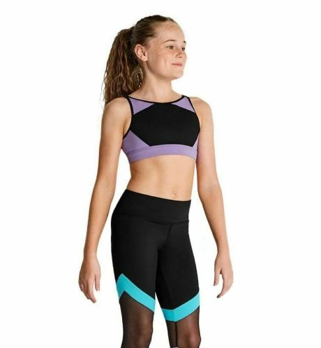 Kaia By Bloch Girls Contrast Panel High Neck Crop Top Dance Gym Acro Lilac
